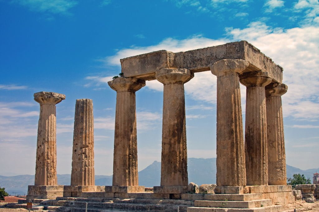 The Temple of Apollo at Ancient Corinth, Greece.